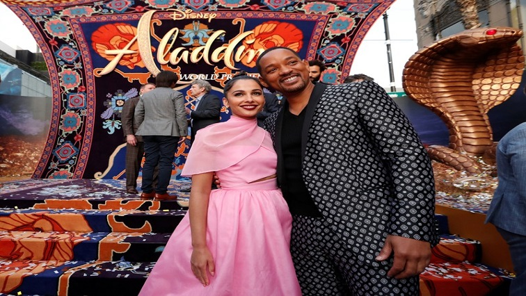 "Cast members Naomi Scott and Will Smith attend the premiere of ""Aladdin"" at El Capitan theatre"