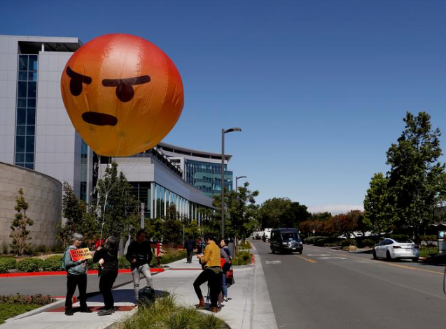facebook - Inflatable angry emoji looms over Facebook annual meeting as users vent frustrations