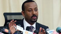 Ethiopia's Prime Minister, Abiy Ahmed addresses a news conference in his office in Addis Ababa, Ethiopia