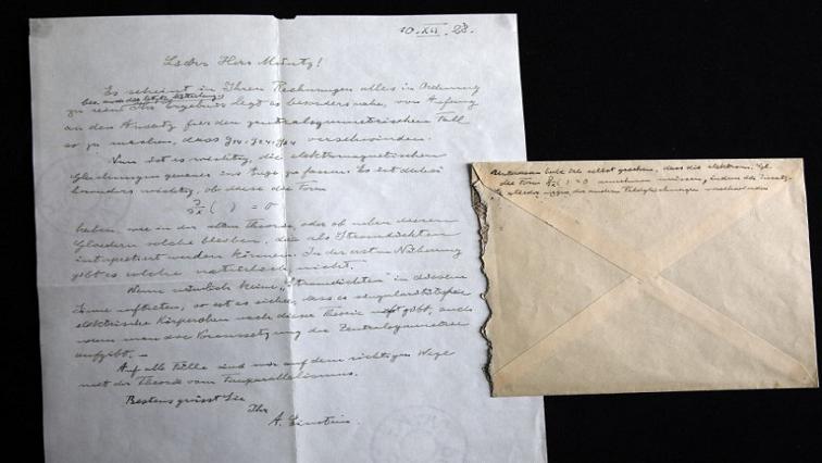 Signed letter by Albert Einstein