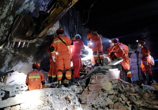 Rescue workers searching for survivors
