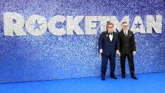 Elton John and his husband David Furnish attend the UK premiere of the Elton John biopic 'Rocketman' in London.