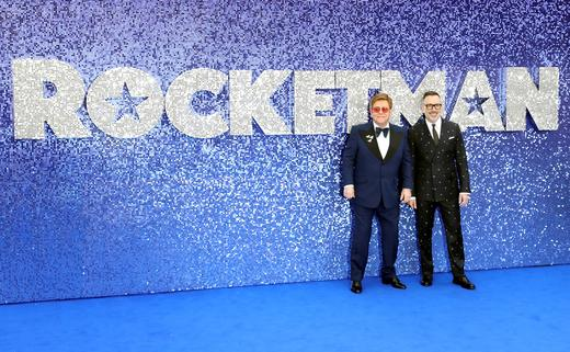 Elton John and his husband David Furnish attend the UK premiere of the Elton John biopic 'Rocketman' in London.