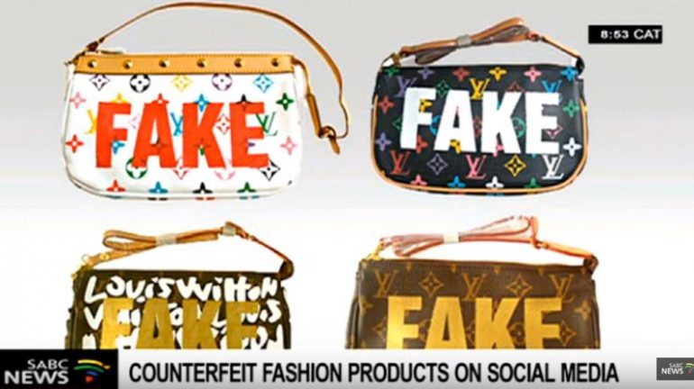 Fake bags on a discussion on counterfeit goods.