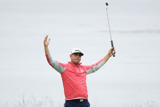 Gary Woodland of the United States celebrates on the 18th green after winning the 2019 US Open at Pebble Beach Golf Links on June 16, 2019 in Pebble Beach, California.