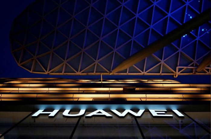 A Huawei company logo is seen at a shopping mall in Shanghai, China.