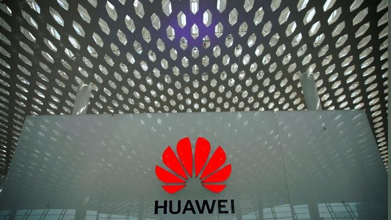 A Huawei company logo at the Shenzhen International Airport in Shenzhen, Guangdong province