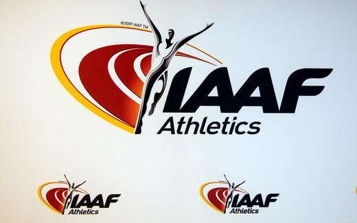 The logo of the International Association of Athletics Federations (IAAF) is seen in Monaco.