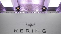 The logo of Kering is seen during the company's 2015 annual results presentation in Paris, France.