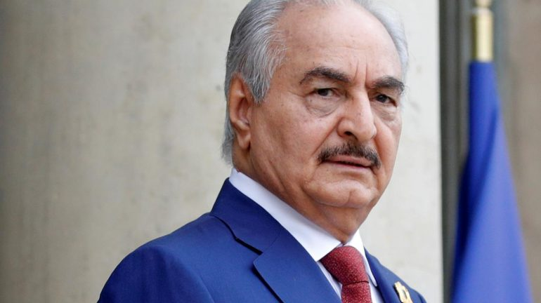 halifa Haftar, the military commander who dominates eastern Libya, arrives to attend an international conference on Libya at the Elysee Palace.