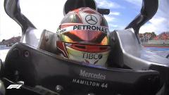 Lewis Hamilton in his racing car