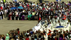 Many couples participating in the mass wedding