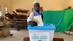 A voter casting a vote