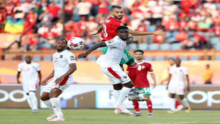Namibia's Denzil Haoseb in action with Morocco's Khalid Boutaib