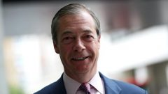 Leader of the Brexit Party Nigel Farage is pictured outside the BBC building, following the results of the European Parliament.