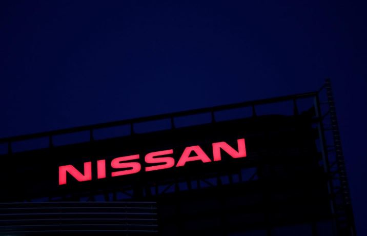 The Nissan logo is seen at Nissan Motor Co.'s global headquarters building in Yokohama, Japan.