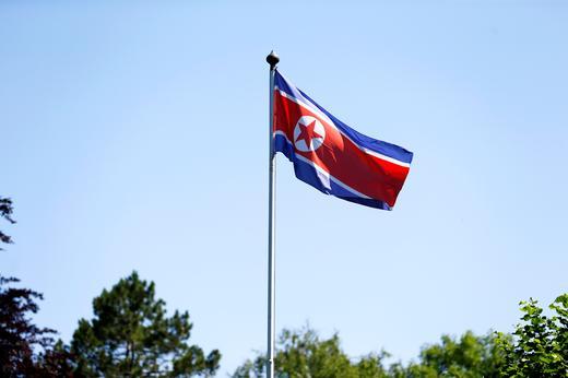 The flag of North Korea is seen in Geneva, Switzerland.