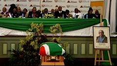 Malgid Ntlebi's coffin covered with SA flag
