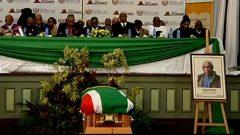 Malgid Ntlebi's coffin covered with SA flag