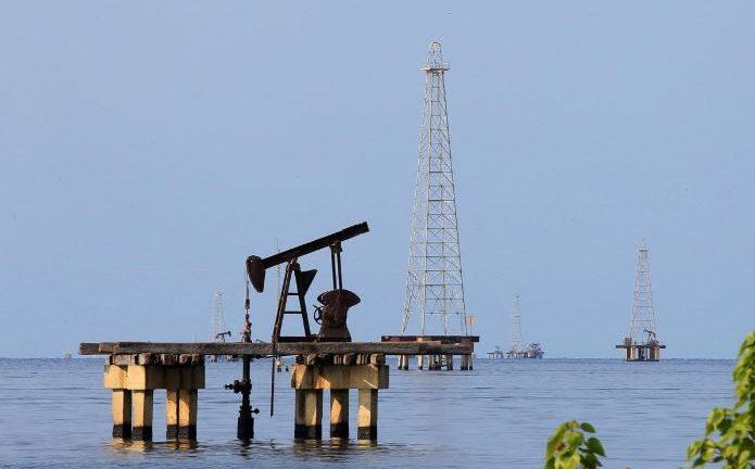 Oil facilities are seen on Lake Maracaibo in Cabimas.