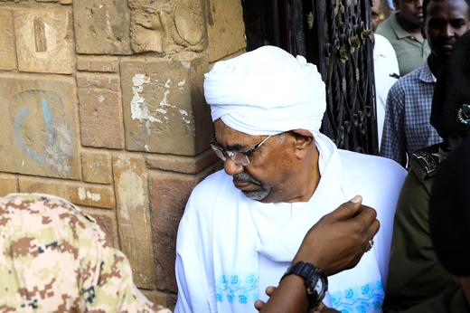 Sudan's ex-president Omar al-Bashir leaves the office of the anti-corruption prosecutor in Khartoum, Sudan.