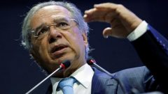 Brazil's Economy Minister Paulo Guedes speaks during a seminar about pension reform bill in Brasilia