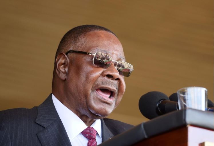 Malawi's President Peter Mutharika addresses guests during his inauguration ceremony in Blantyre, Malawi.