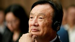 Huawei founder Ren Zhengfei attends a panel discussion at the company headquarters in Shenzhen, Guangdong province, China.