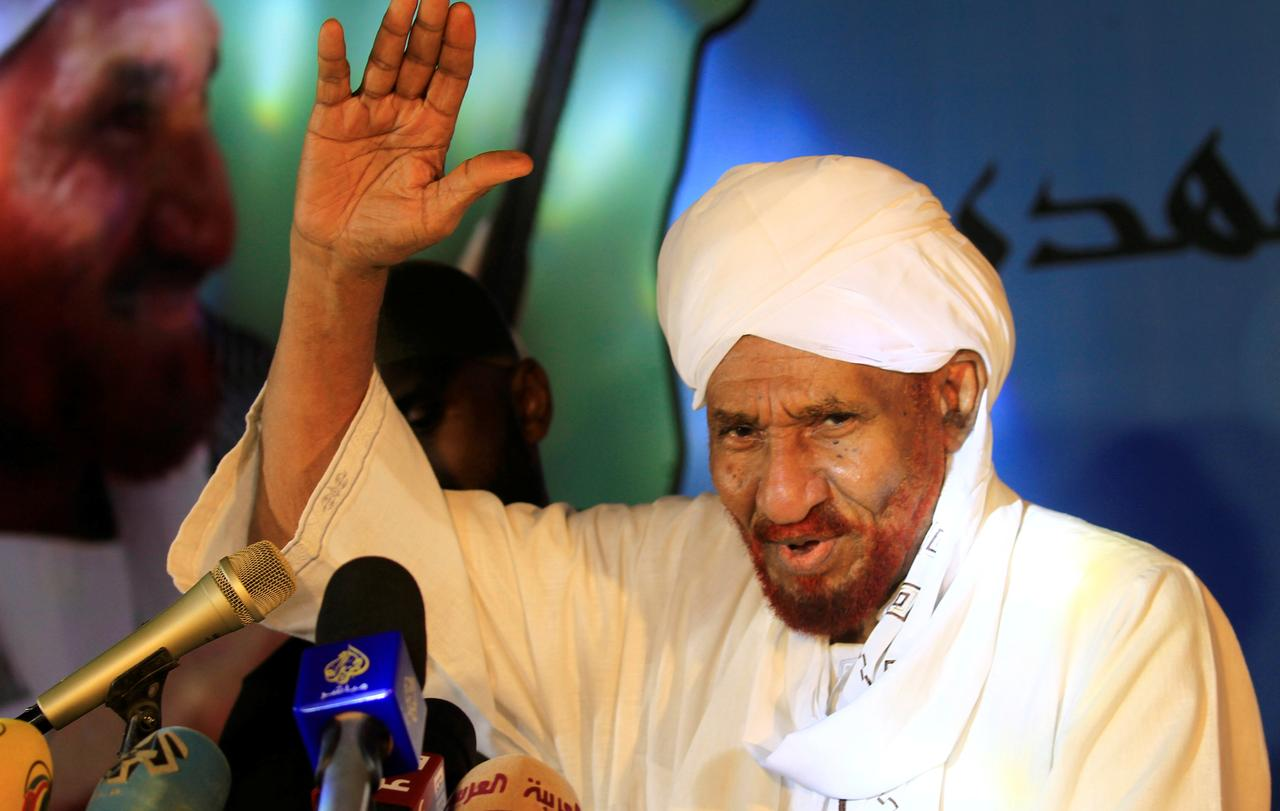 Sudanese leading opposition figure Sadiq al-Mahdi addresses his supporters after he returned from nearly a year in self-imposed exile in Khartoum, Sudan.
