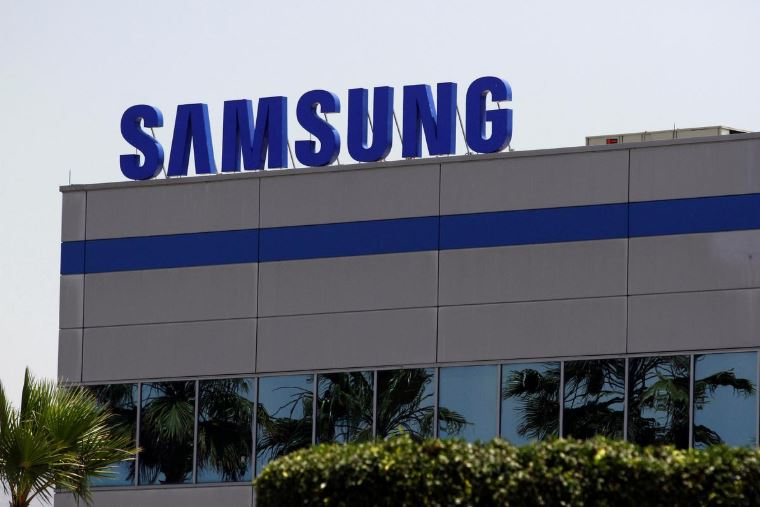 The logo of Samsung Electronics is pictured at the company's factory in Tijuana.