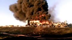 Tanker on fire