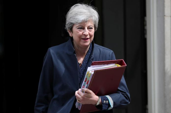 Britain's Prime Minister Theresa May leaves Downing Street, as uncertainty over Brexit continues, in London.