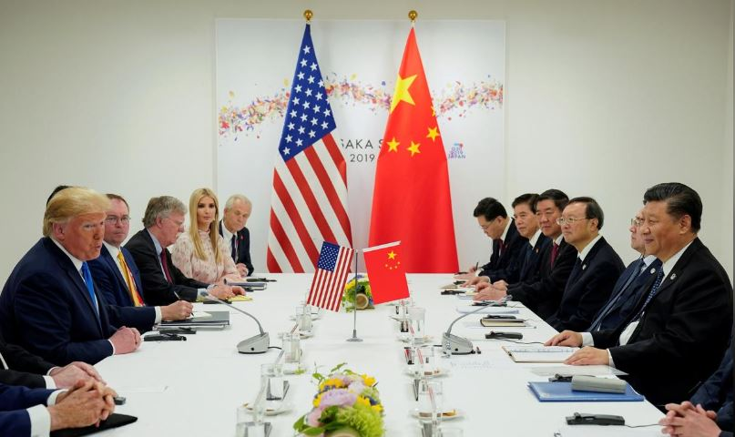 US President Donald Trump meets with China's President Xi Jinping at the start of their bilateral meeting at the G20 leaders summit in Osaka.
