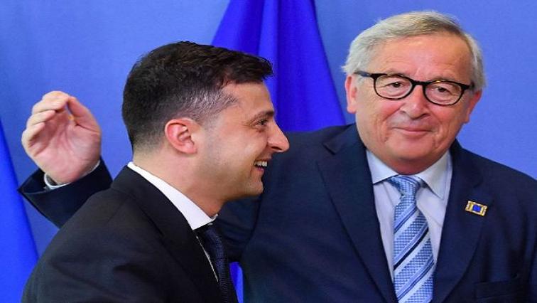 Volodymyr Zelensky and Jean-Claude Juncker