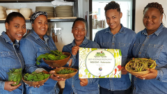 Employees accepting award for Best Vegetables Restaurant in South Africa 2018