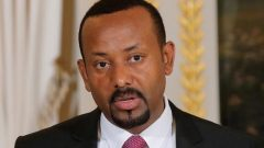 Ethiopian Prime Minister Abiy Ahmed speaks during a media conference at the Elysee Palace in Paris.