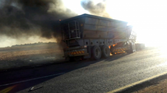 A burning truck