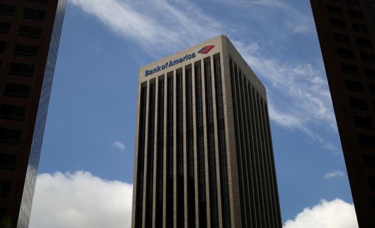A Bank of America building is seen in Los Angeles.
