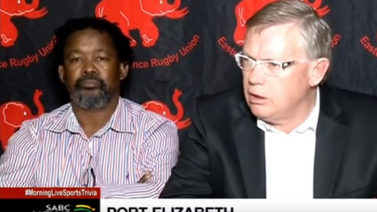 Eastern Province Rugby Union president Andre Rademan with deputy Bantwini Matika during a press conference.