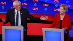 US Senator Bernie Sanders and US Senator Elizabeth Warren speak on the first night of the second 2020 Democratic US presidential debate in Detroit, Michigan.