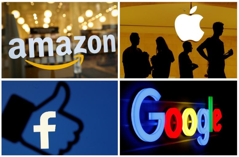 The logos of Amazon, Apple, Facebook and Google are seen in a combination photo from Reuters files