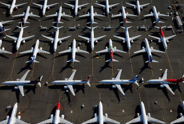 Grounded Boeing 737 MAX aircraft are seen parked in an aerial photo at Boeing Field in Seattle, Washington.