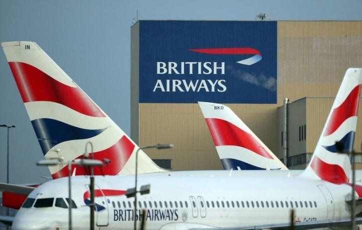 British Airways aircraft are seen at Heathrow Airport in west London, Britain.