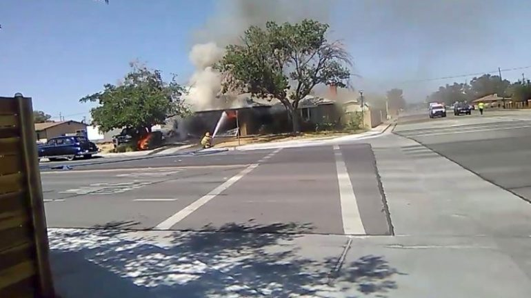 A fire is seen following an earthquake in Ridgecrest , California, U.S. July 4, 2019 in this still image taken from social media video.