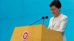 Hong Kong Chief Executive Carrie Lam attends a news conference in Hong Kong.
