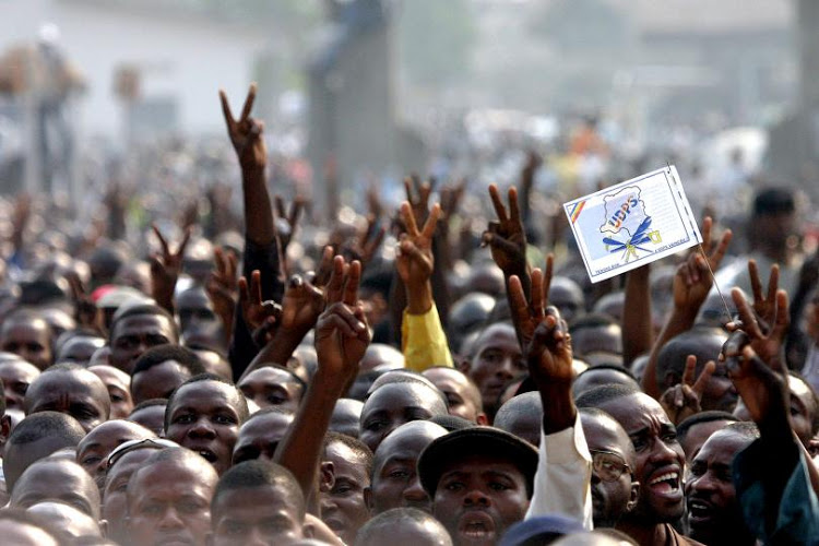 Students at an anti-government rally in the DRC.