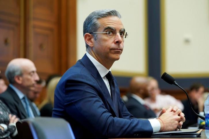 "David Marcus, CEO of Facebook's Calibra, testifies to the House Financial Services Committee hearing on ""Examining Facebook's Proposed Cryptocurrency and Its Impact on Consumers, Investors, and the American Financial System"" on Capitol Hill."