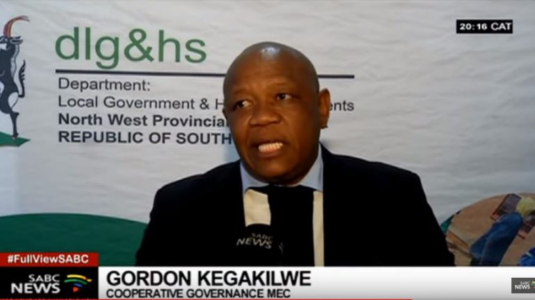 MEC Gordon Kegakilwe during a SABC report.