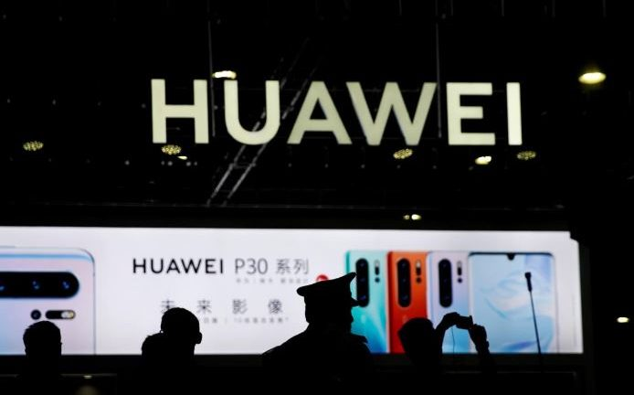 Huawei logo on display at expo