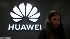 A Huawei logo is pictured at their store at Vina del Mar, Chile.